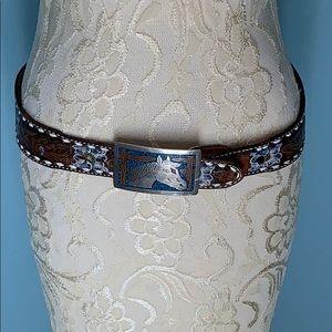 Vintage Tony Lama Leather Belt Silver Horse Buckle